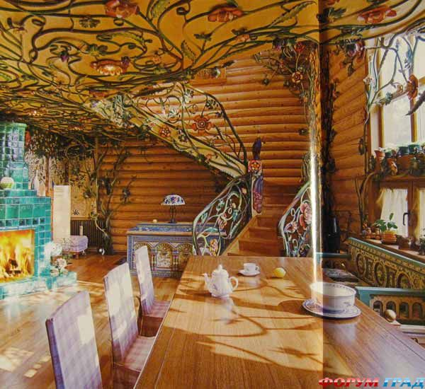 Интерьер в доме клееного бруса