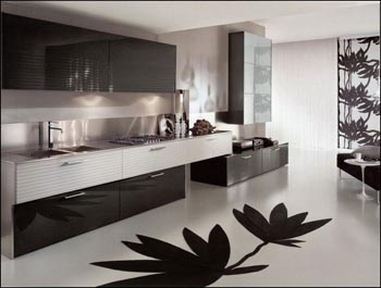 yeşil renkli dolapları olan modern dizayn edilmiş mutfak modeli.