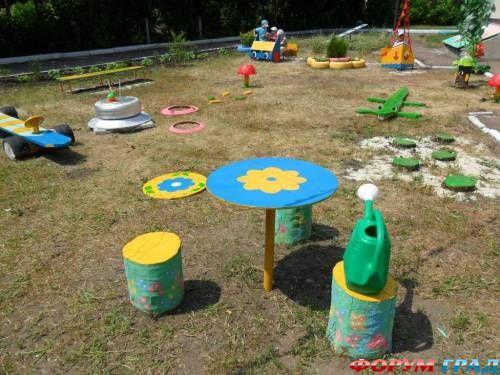 Оформление двора в детском саду