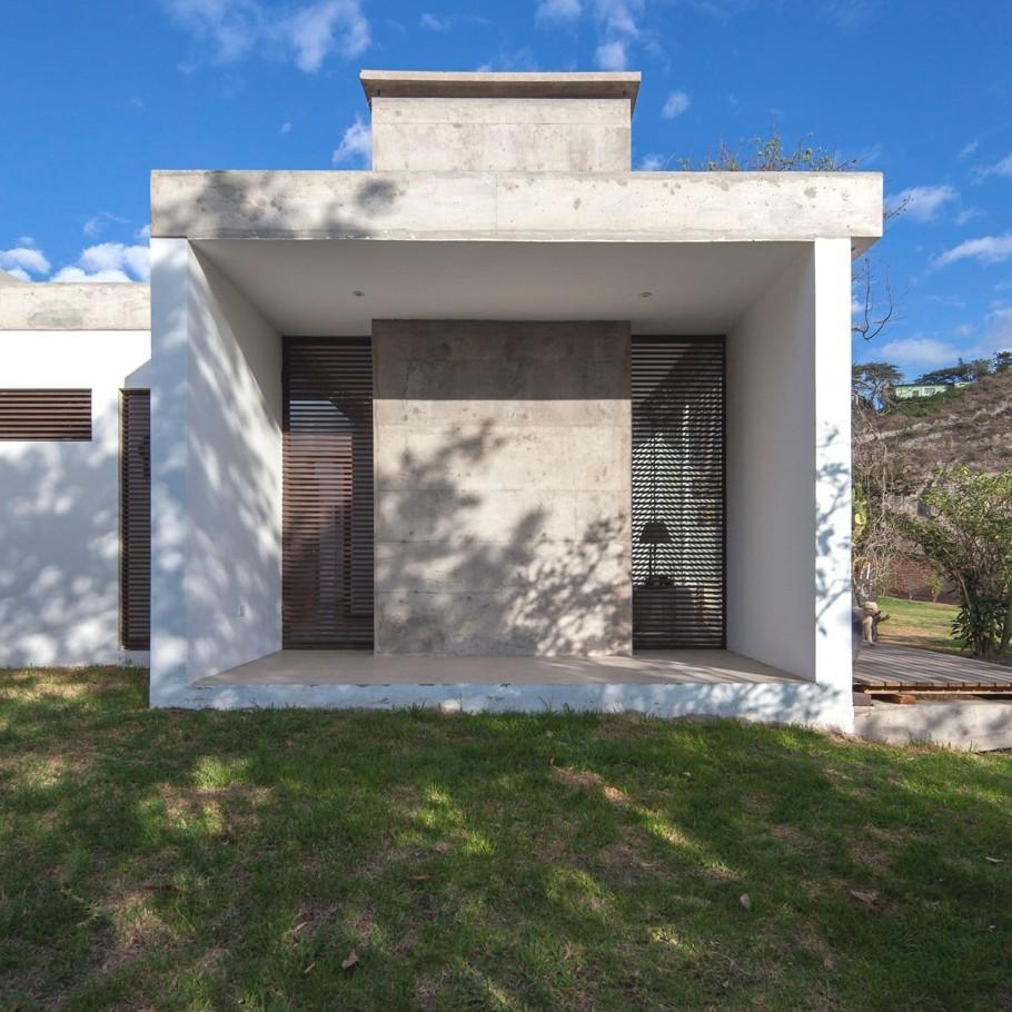 Красивые одноэтажные дома с террасами: стильный G1 с деревом во дворе