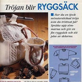 На схеме показано как покроить рюкзачок и сумочку из свитера.