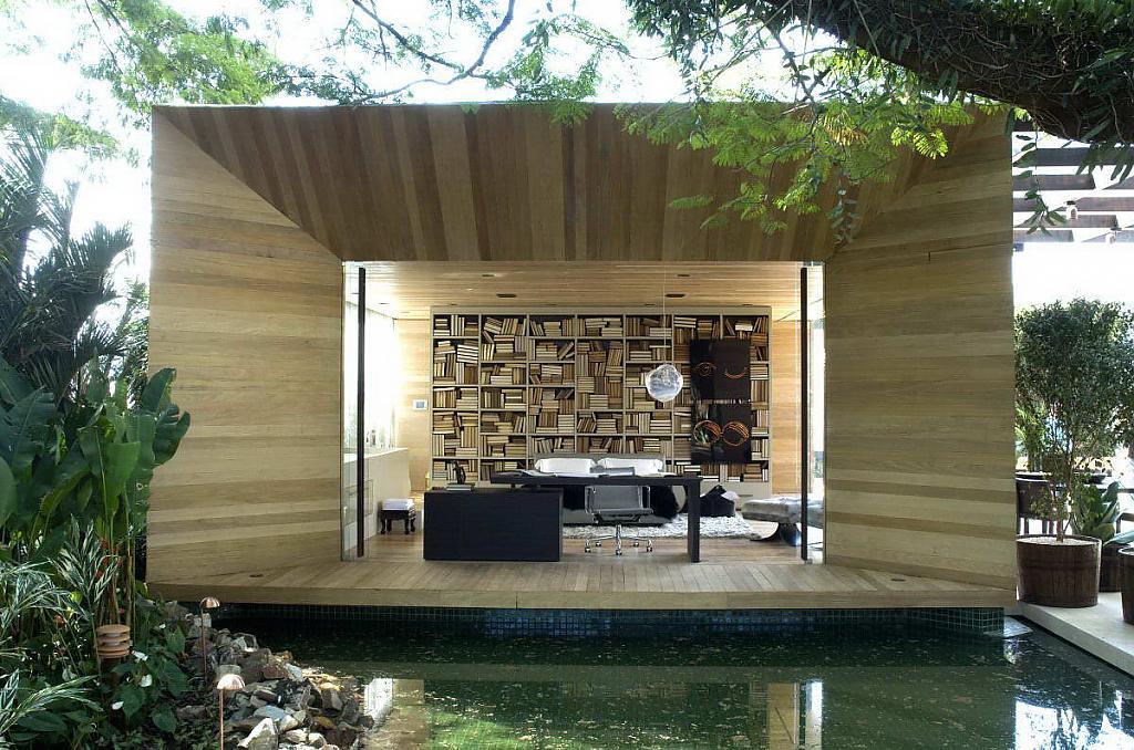 Бунгало: проект бразильского дома с террасами и прудиками