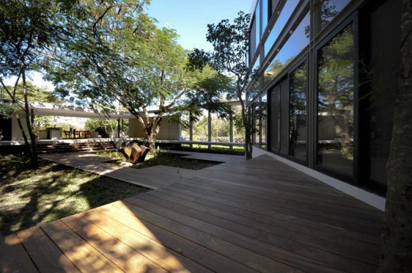 Интересные проекты загородных домов: House Among Trees с бассейном и деревьями на веранде